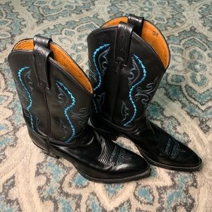 Justin Cowboy Boots Black with Blue stitching